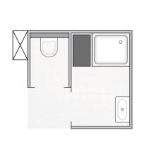 Kompletna ursynowska łazienka w bloku na ursynowie, miska + stelaż + przycisk + szafka z umywalką Koło + kabina z brodzikiem + baterie Hansgrohe - 707592_O1