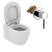 Ideal Standard Connect miska wisząca WC z funkcją bidetu, deską w/o thin i podtynkową bateria natryskową Kludi Bozz biały - 738741_O1