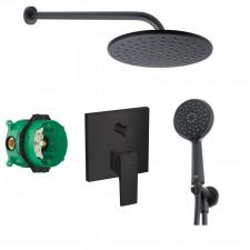 Hansgrohe Metropol bateria zestaw prysznicowy podtynkowy deszczownica czarny mat (32545670 + 01800180) - 466995_O1