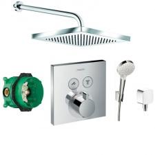 Hansgrohe Select bateria Zestaw prysznicowy podtynkowy, deszczownica 25x25(6653105 +6651405 +27593000 +27453000 +15763000 +01800180) chrom - 467983_O1