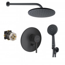 Kludi Bozz bateria, Zestaw prysznicowy podtynkowy z deszczownicą czarny mat (386503976 + 88011) - 467003_O1