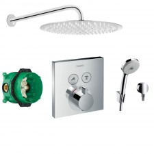 Hansgrohe Select bateria Zestaw prysznicowy podtynkowy, deszczownica Slim 30cm (27593000 + 27453000 + 15763000 + 01800180 + Slim R30) chrom - 766538_O1