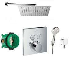 Hansgrohe Select bateria Zestaw prysznicowy podtynkowy, deszczownica Slim 30x30 cm (27593000 + 27453000 + 15763000 + 01800180 + Slim Q30) chrom - 766570_O1
