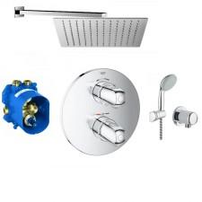 Grohe Grohtherm 1000 Zestaw prysznicowy podtynkowy, deszczownica Slim 30x30cm (19986000 + 35500000 + 2760110E + 28671000 + Slim Q30) chrom - 766579_O1