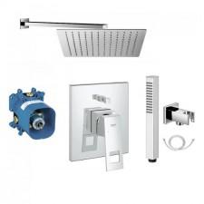 Grohe Eurocube zestaw prysznicowy podtynkowy, deszczownica Slim 30x30cm (19896000 + 35501000 + Slim Q30 + 8876 + Y-R/K + Silver-X 125) chrom - 771860_O1