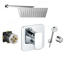 Kludi E2 Zestaw prysznicowy podtynkowy, deszczownica Slim 30x30 cm (496500575 + 6306005 + 6803005 + 88011 + Slim Q30) - 766596_O1