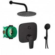 Hansgrohe Talis E bateria, kompletny zestaw prysznicowy podtynkowy z deszczownicą czarny (01800180 + 71745670) - 797913_O1