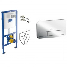 Villeroy & Boch Zestaw 3w1 Stelaż podtynkowy do miski WC wiszącej z przyciskiem uruchamiającym do WC chrom (92246100 + 92249061 + 12345678) - 738580_O1