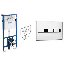 Roca zestaw 4w1 Stelaż podtynkowy do WC z przyciskiem 2-funkcyjnym chrom (A89009000K + A890096001 + 12345678) - 738581_O1