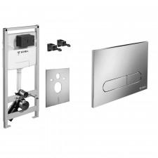 Schell Zestaw 4w1 Stelaż WC wiszącego z przyciskiem uruchamiającym chrom błyszczący (030570099 + 030680699) - 738582_O1