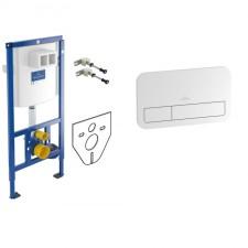 Villeroy & Boch Zestaw 3w1 ViConnect Stelaż podtynkowy do miski WC wiszącej + Przycisk do WC biały + podkładka (92246100+92249068+12345678) - 738491_O1