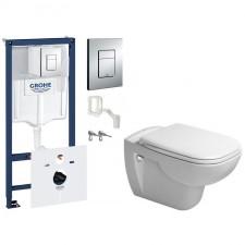 Grohe Duravit D-Code Zestaw Stelaż podtynkowy z miską WC wiszącą i deską wolnoopadającą, 7w1 (38827000 +0067390000 +25350900002) - 459080_O1