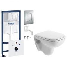 Grohe Duravit D-Code Zestaw Stelaż podtynkowy z miską WC wiszącą i deską wolnoopadającą, 7w1 (38827000 +0067390000 +22110900002) - 459075_O1