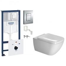 Grohe Duravit Happy D.2 Zestaw Stelaż podtynkowy z miską WC wiszącą i deską wolnoopadającą, 7w1 (38827000+2222090000+0064590000) - 571545_O1
