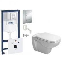 Grohe Duravit D-Code Zestaw Stelaż podtynkowy 5w1 z miską WC wiszącą bezrantową Rimless i deską wolnoopadającą (38827000+45700900A1) - 739531_O1
