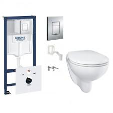 Grohe Bau Ceramic Zestaw Stelaż podtynkowy z miską WC wiszącą bezrantową i deską wolnoopadającą (38827000 + 39427000 + 39493000) - 795089_O1