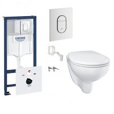 Grohe Bau Ceramic Zestaw Stelaż podtynkowy z miską WC wiszącą bezrantową i deską wolnoopadającą (39450000 + 39427000 + 39493000) - 795092_O1