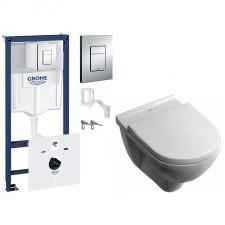 Grohe Villeroy O.Novo Zestaw Stelaż podtynkowy z miska WC wisząca bezrantowa i deską wolnoopadającą, 7w1 (38827000 + 5660HR01) - 507507_O1