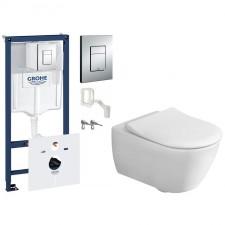 Grohe Villeroy&Boch Subway 2.0 Zestaw Stelaż podtynkowy z miską WC wiszącą bezrantową DirectFlush i deską w/o Slimseat (38827000+5614R001+9M78S101) - 739835_O1