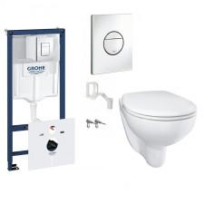 Grohe Bau Ceramic Zestaw Stelaż podtynkowy z miską WC wiszącą bezrantową i deską wolnoopadającą (39451000 + 39427000 + 39493000) - 795096_O1