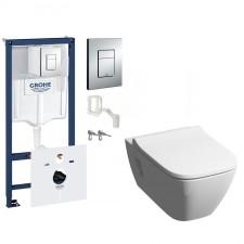 Grohe Koło Modo Zestaw Stelaż podtynkowy 5w1 z miską WC wiszącą bezrantową Rimfree i deską wolnoopadającą Slim (38827000 + L33120000 + L30115000) - 773451_O1