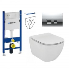 Geberit Ideal Standard Tesi Zestaw Stelaż podtynkowy z miską WC wiszącą bezrantową AquaBlade, deską w/o (111.153.00.1 + 115.135.21.1 + T007901 + T352701) - 773417_O1