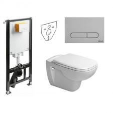 Koło Slim2 Duravit D-Code Zestaw Stelaż podtynkowy z miską WC wiszącą bezrantową Rimless, deską w/o i przyciskiem (99640000+45700900A1+ 94183002) - 739534_O1