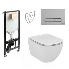 Koło Slim2 Ideal Standard Tesi Zestaw Stelaż podtynkowy Miska WC wisząca bezrantowa z deską w/o (99640000 + 94183002 + T350301 + T352701) - 773416_O1