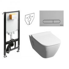Koło Slim2 Koło Modo Zestaw Stelaż podtynkowy z miską WC wiszącą bezrantową Rimfree i deską wolnoopadającą Slim (99640000 + 94183002 + L3312 + L30115) - 773454_O1