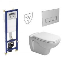 Ideal Standard Duravit D-Code Zestaw Stelaż podtynkowy z miską WC wiszącą, deską wolnoopadającą i przyciskiem (W370567+W3708AA+ 25350900002+006739) - 739807_O1