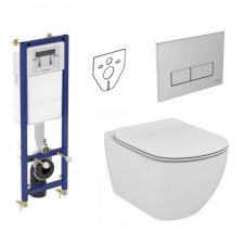 Ideal Standard Tesi Zestaw Stelaż podtynkowy z miską WC wiszącą bezrantową AquaBlade i deską w/o (W370567 + W3708AA + T007901 + T352701) - 773420_O1