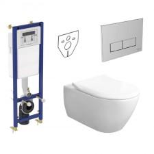 Ideal Standard Villeroy & Boch Subway 2.0 Zestaw Stelaż podtynkowy z miską WC wiszącą bezrantową i deską w/o (W370567+W3708AA+5614R001+9M78S101) - 739796_O1