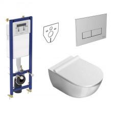 Ideal Standard Catalano Sfera Zestaw Stelaż podtynkowy z miską WC wiszącą bezrantową i deską wolnoopadającą (W370567+W3708AA+1VSF54R00+5SCSTP000) - 739798_O1