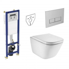 Ideal Standard Roca Gap Zestaw Stelaż podtynkowy z miską WC wiszącą bezrantową Rimless i deską wolnoopadającą (W370567+W3708AA+A34647L000+A80148200U) - 739799_O1