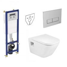 Ideal Standard Roca Gap Zestaw Stelaż podynkowy z miską WC wiszącą i deską wolnoopadającą (W370567 + W3708AA + A346477000 + A80148200U) - 773445_O1