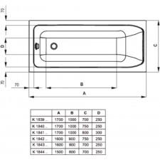 Ideal Standard Active wanna prostoktna 170x80cm z panelem i nogami biała - 553135_O1