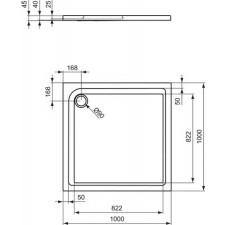 Ideal Standard Playa brodzik 100x100cm biały - 576741_O1