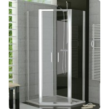 Sanswiss Ronal Top Line kabina pieciokątna drzwi western 90 profil srebrny mat, szkło krople - 500082_O1