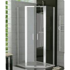 Sanswiss Ronal Top Line kabina pieciokątna drzwi western 90 profil srebrny mat, szkło pas satynowy - 500091_O1