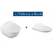 Villeroy & Boch ViClean Zestaw WC wiszący Ceramicplus, DirectFlush, deska sedesowa w/o z funkcją bidetu, akcesoria (V9901900+V02EL401+5614R5R1)O1