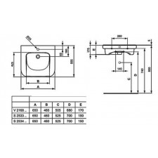 Ideal Standard Contour 21 umywalka dla niepełnosprawnych 65cm Ideal Plus biała - 576747_O1