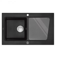 """Deante Modern zlewozmywak granit 1-komorowy z ociekaczem odpływ 3.5"""", grafitowy metalik - 451504_O1"""